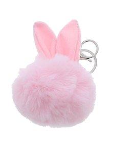 """Konijn """"Pluizenbol"""" sleutelhanger - Licht roze"""