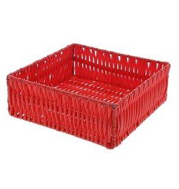 Panier carré en plastique - rouge