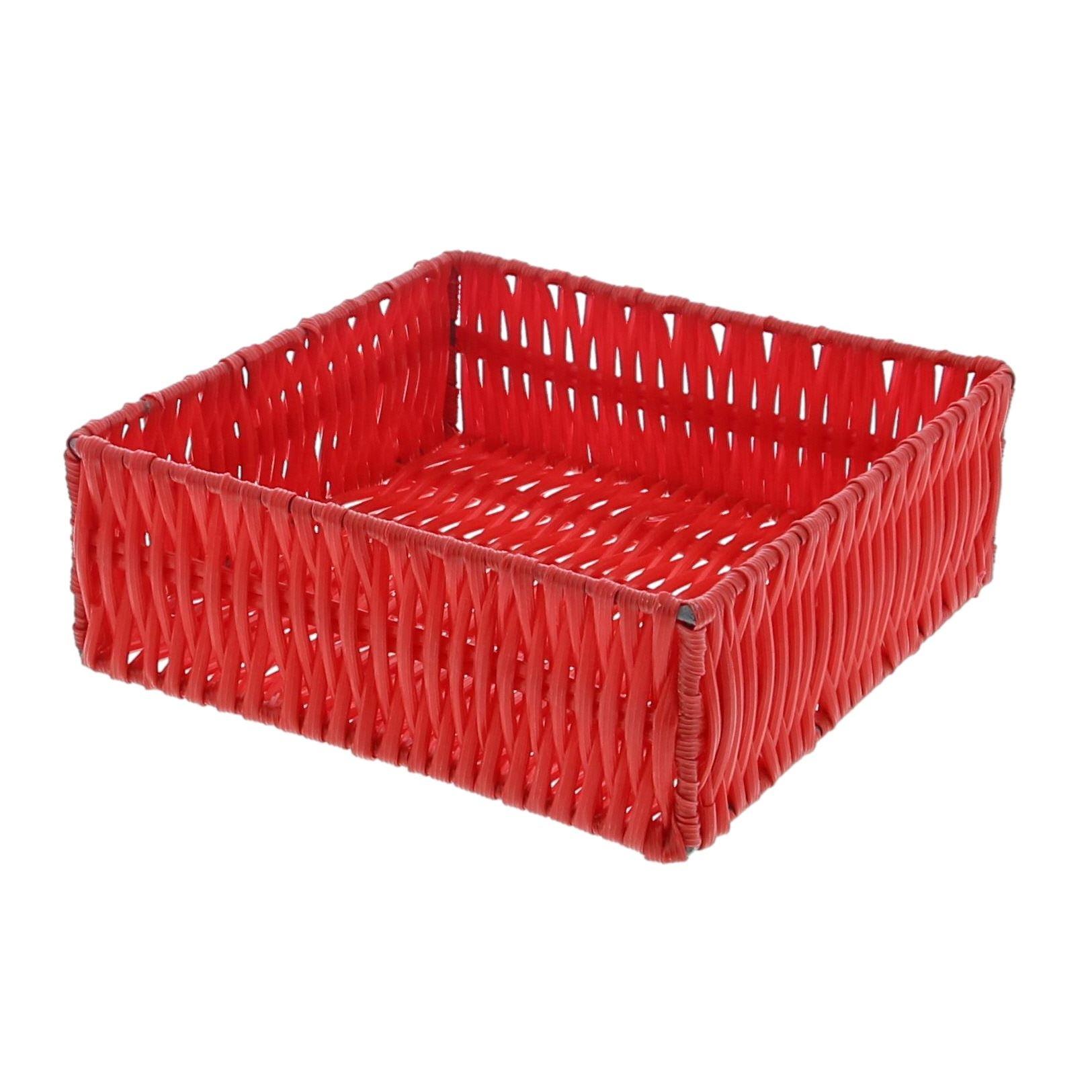 Quadratischer Kunststoffkorb - Rot  - 6 Stück