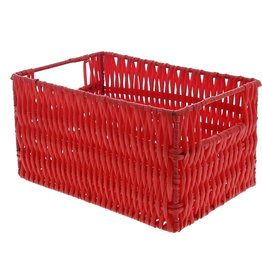 Plastic basket rectangular - red
