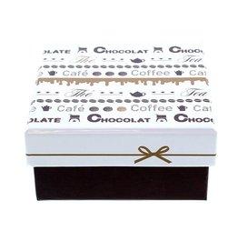 """Chocolate """"Goldy"""" Doos met deksel vierkant"""