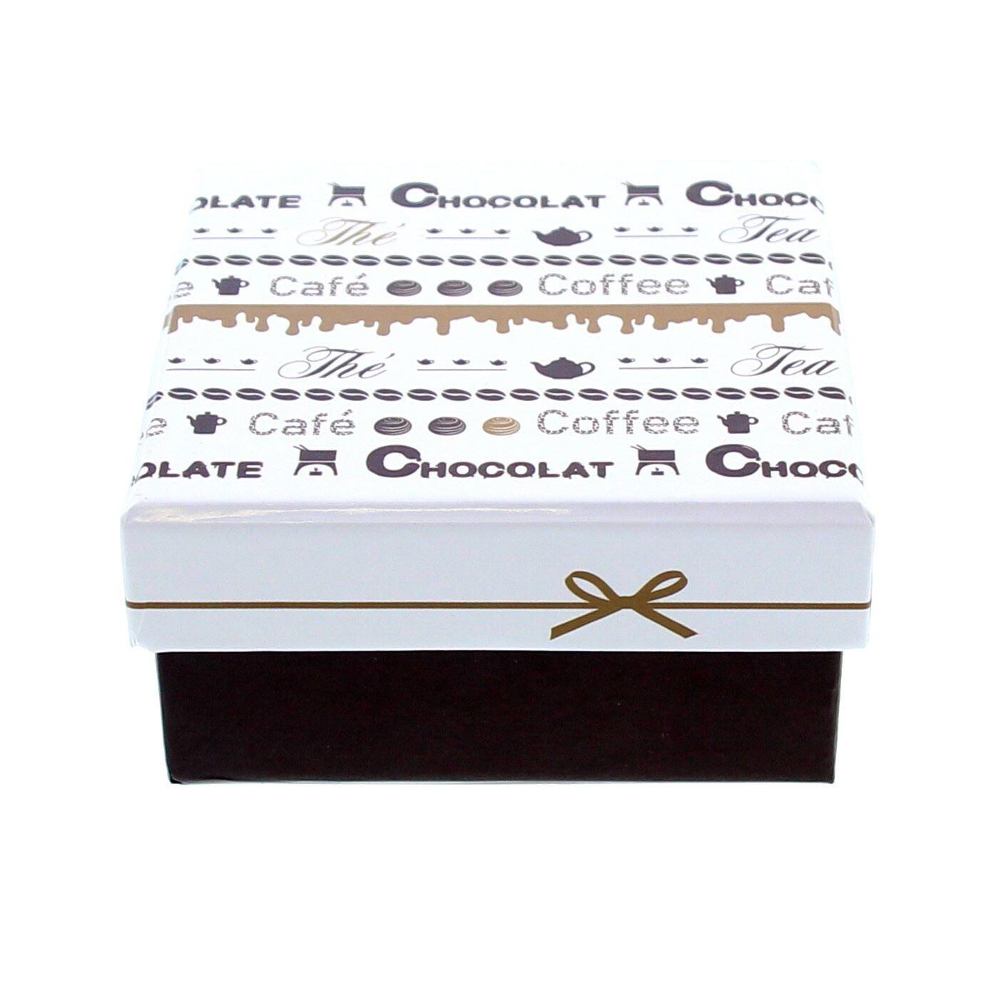 """Chocolate """"Goldy""""  Doos met deksel vierkant - 105*105*55mm - 10 stuks"""