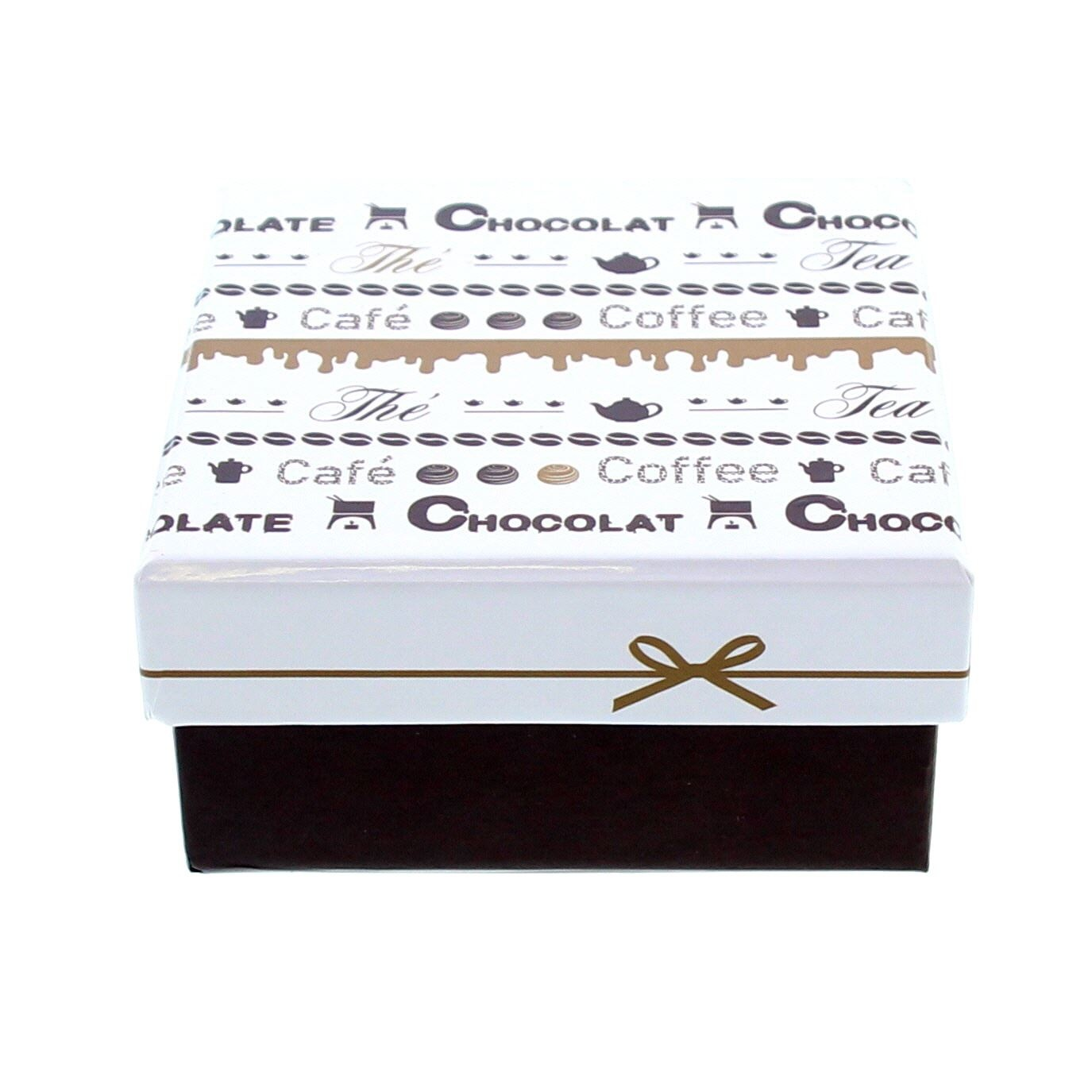 """Chocolate """"Goldy"""" square Box with lid - 105*105*55mm - 10 pieces"""
