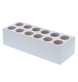 Rechteckig Würfel für 12 Glasrohre - Weiß