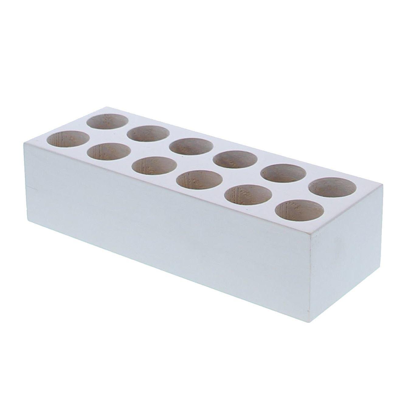 Rechthoekig blok voor 12 proefbuisjes  - wit  - 200*70*50mm - 8 stuks