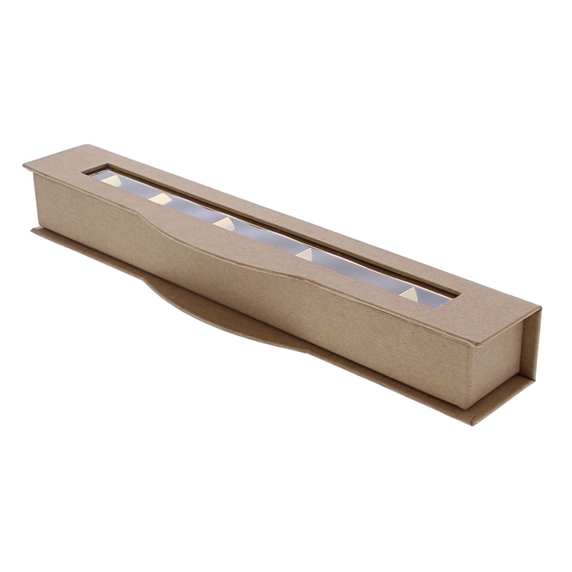 Boite à fenêtre transparente  6 pralines kraft - 285 *55*40  mm - 20 pièces