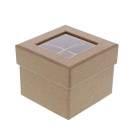 Caja cubo de ventana transparente  kraft 2 niveles