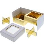 Kare Fenster Würfelbox Weiß 2 Etagen - 90 *90*75 mm - 10 Stück