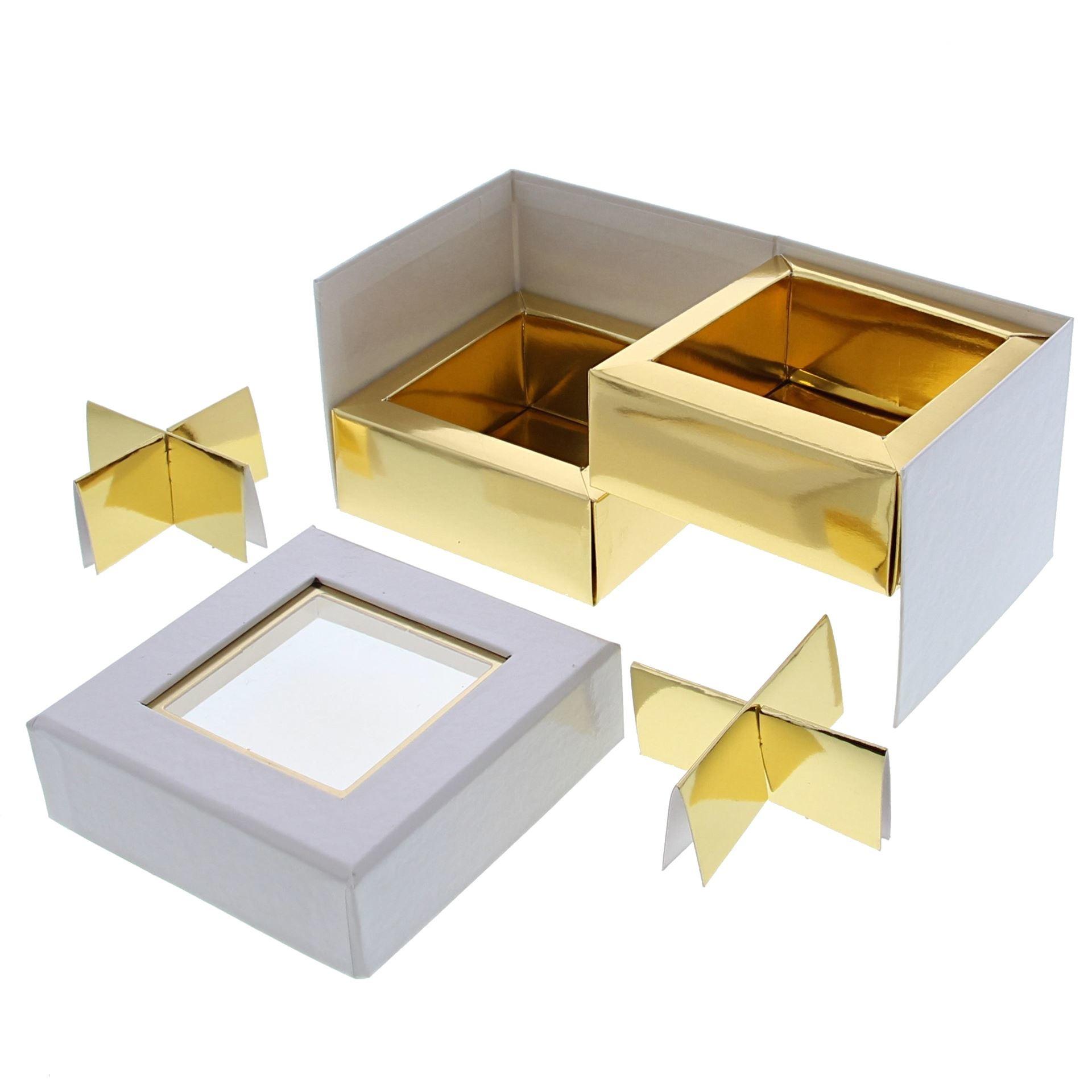 Boite à fenêtre  cube blanc 2 couches - 90 *90*75 mm - 10 pièces