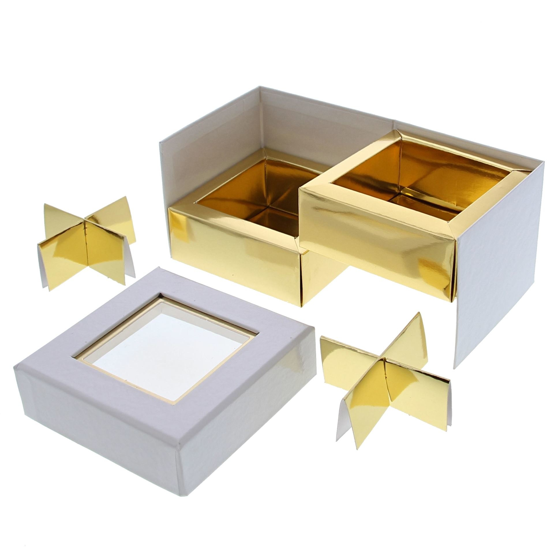 Clear Window Cube box white  2 layers - 90 *90*75 mm - 10 pieces
