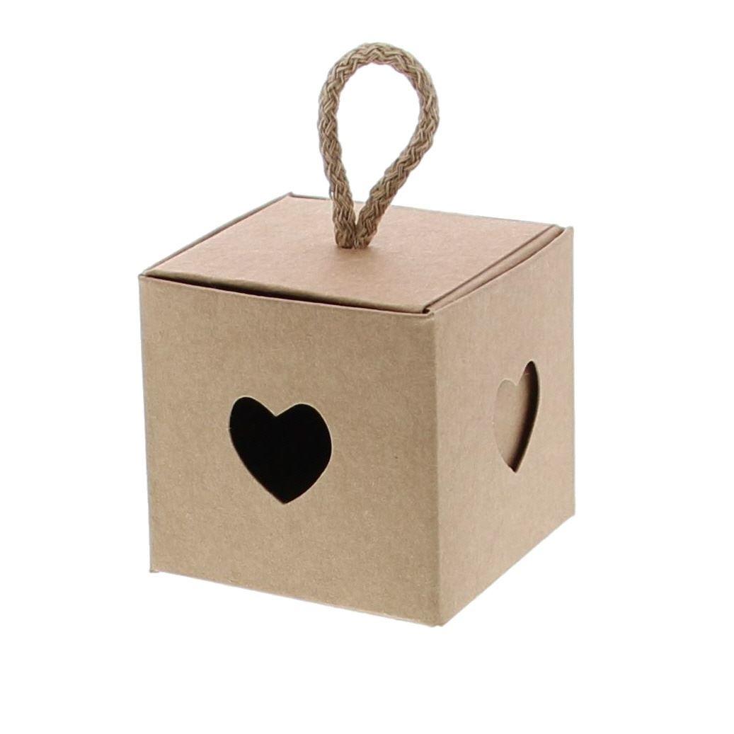 Caja cubo con corazón kraft - obtenible en 3 tamaños