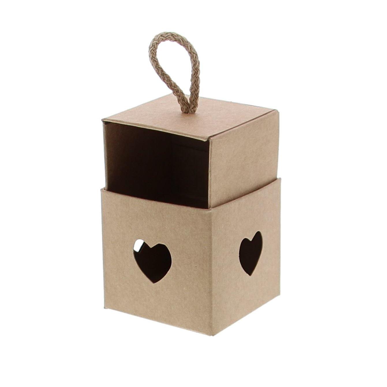 Boîte Cube avec coeur kraft - disponible en 3 mésures
