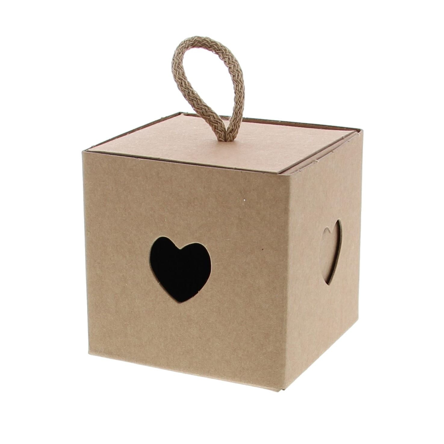 Cubebox Heart with cord kraft - available in 3 sizes