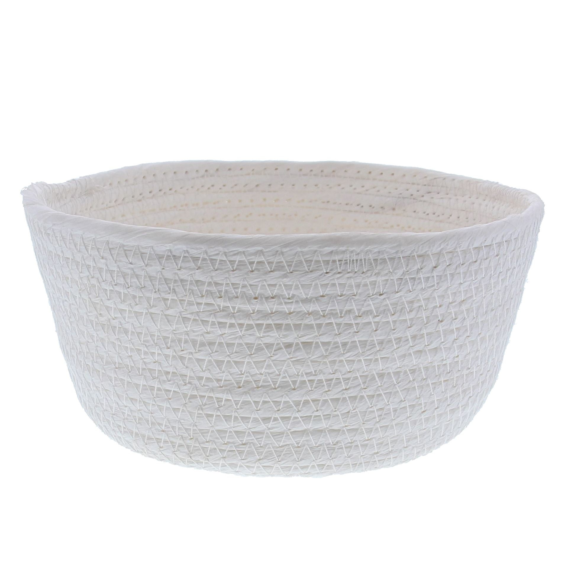 Round Paper rope basket - white - 10 pieces