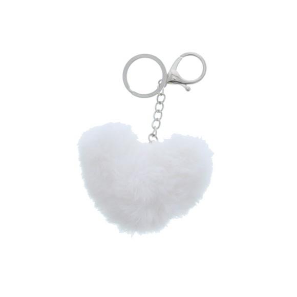 """Heart """"Pluche"""" keychain - white - 90*40*130mm - 12 pieces"""
