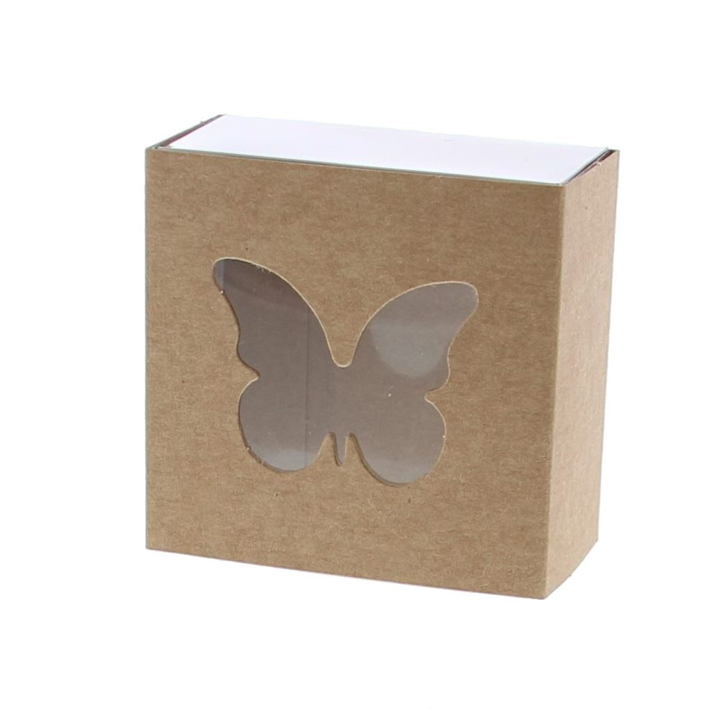 Sliding box butterfly kraft - 60*60*30mm - 200 pieces