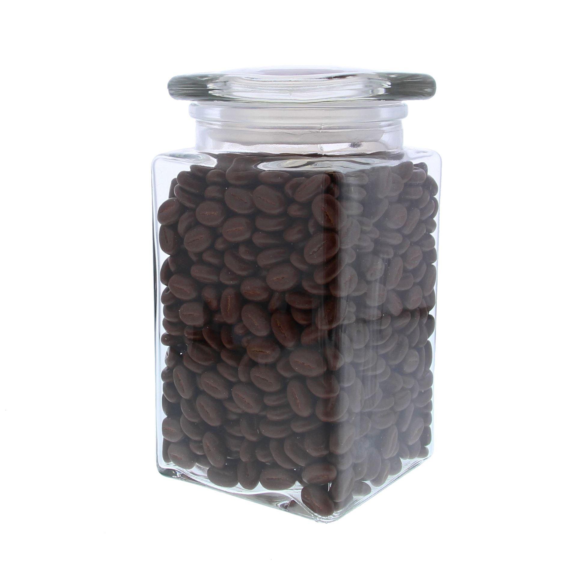 Pot en verre  avec couvercle  carré  - 100*100*185mm - 6 pièces