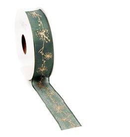 Glinte woven edge Ribbon - dark green