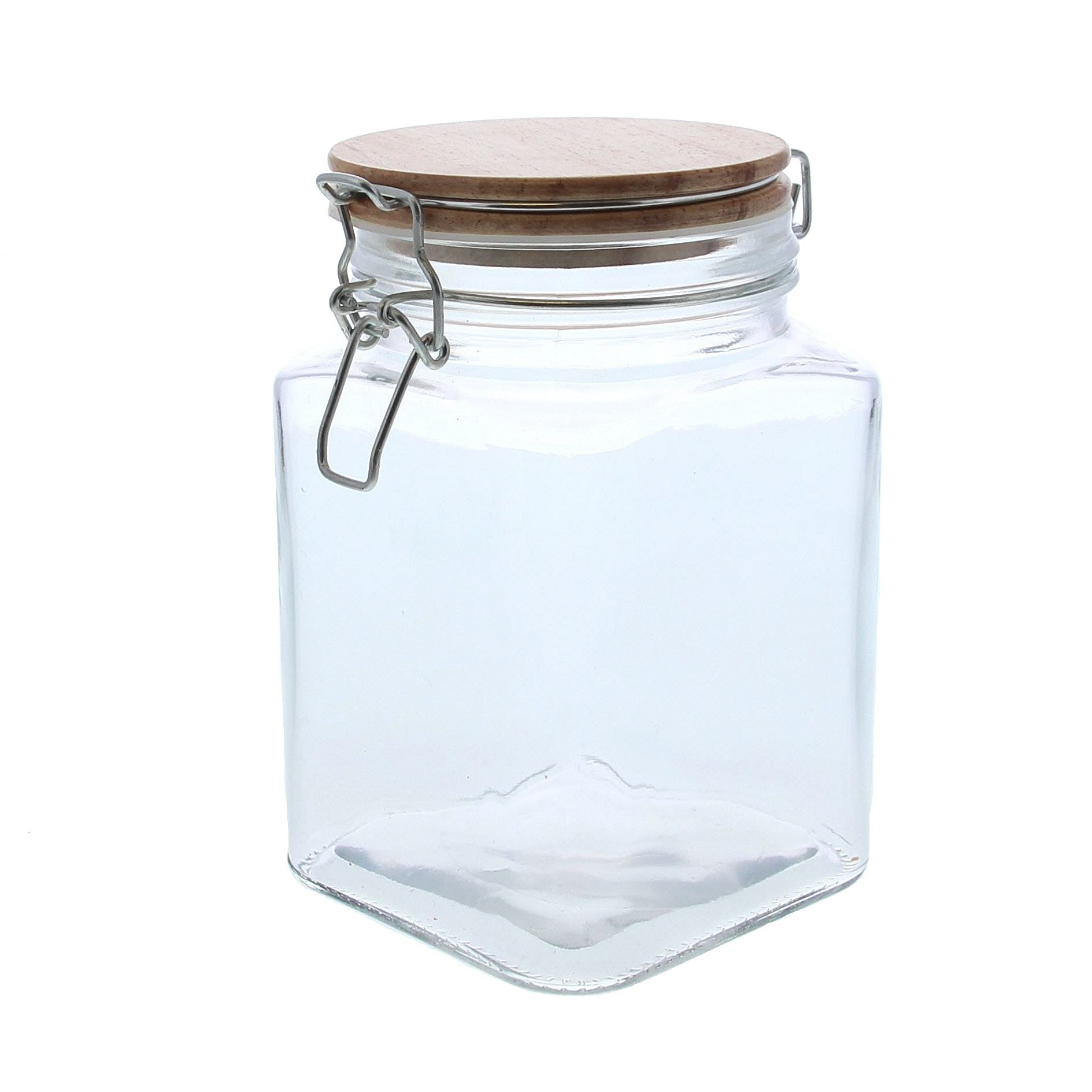 Square glass storage jar with  a wooden lid  - 110*110*170mm - 6 pieces