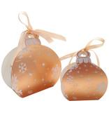 Bailes nadal en oro rosa con caja  blanca y cinta