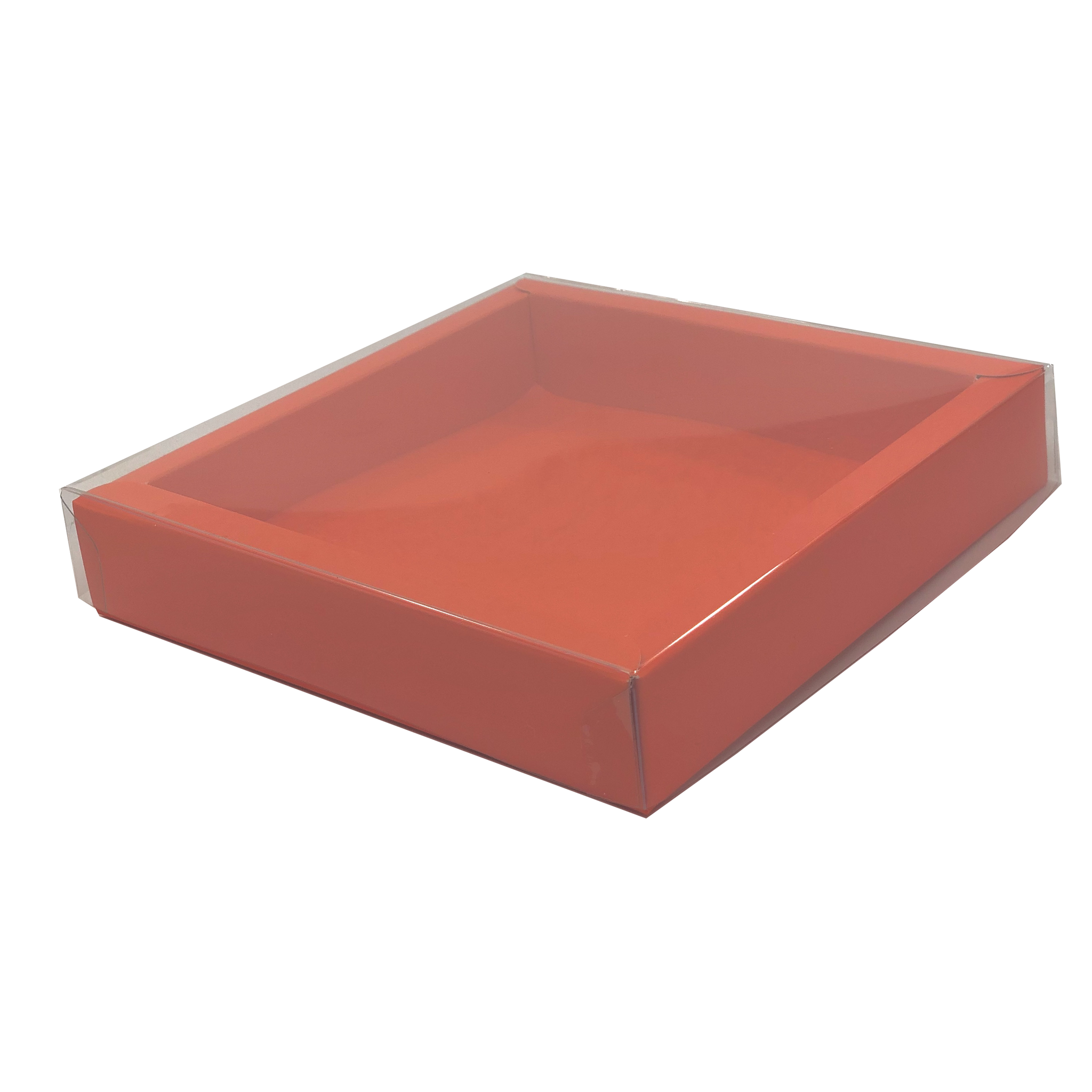 Square box orange with transparant lid  120*120*27mm - 36 pieces
