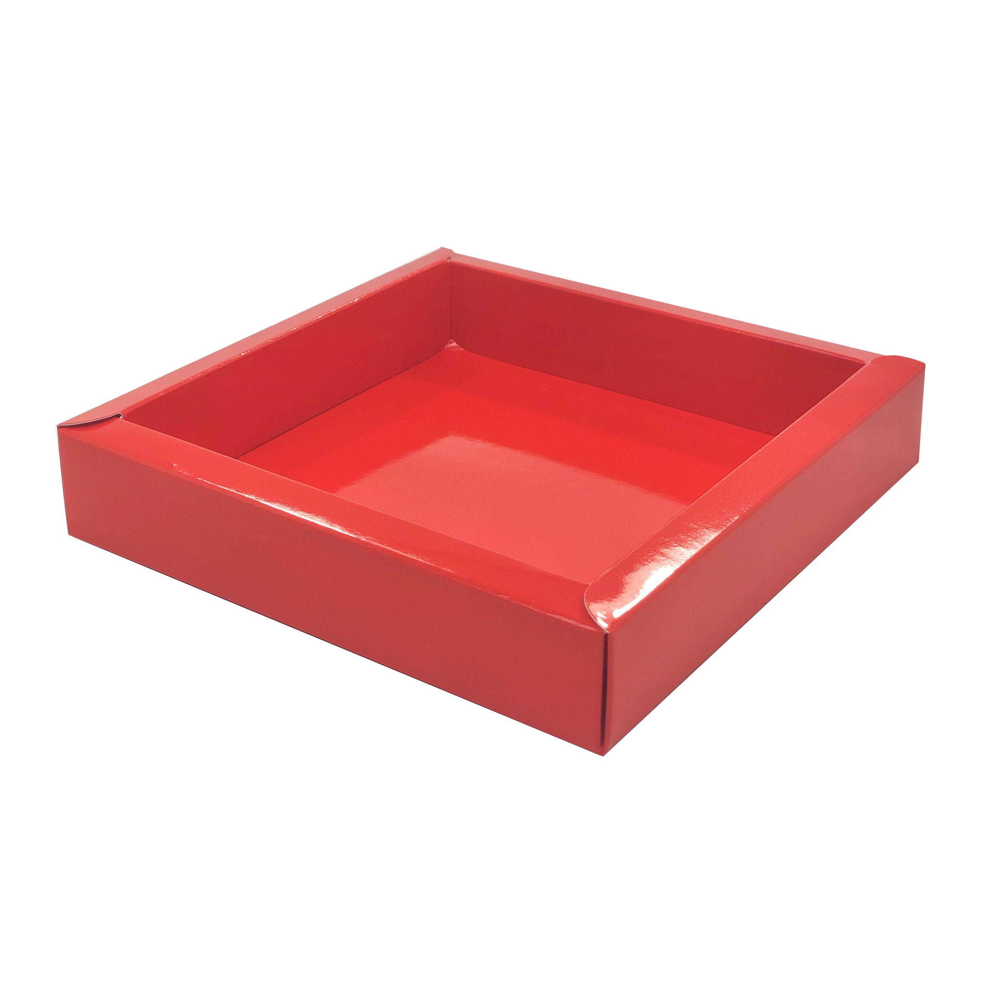 Square box red with transparant lid  120*120*27mm - 36 pieces
