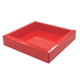Vierkant doosje rood met transparant deksel