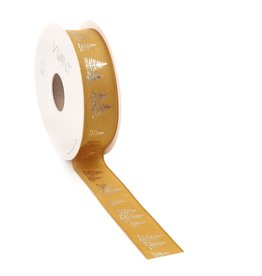 Fir woven edge Ribbon - ochre