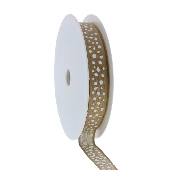 """""""Snowball  Puff """"  wired ribbon  - gold - 15mm  - 20m"""
