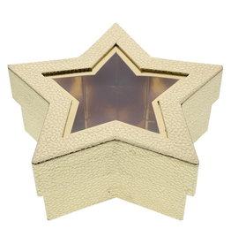 Caja de estrellas con ventana transp goldarente -  oro