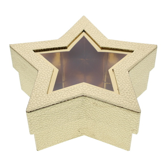 Ster doos met venster  - goud - 185 *185 * 75 mm - 12 stuks