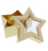 Boîte étoilée avec fenêtre transparente - or - 185 *185 * 75 mm - 12 pièces
