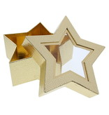 Star box with clear window - gold - 185 *185 * 75 mm - 12 pieces