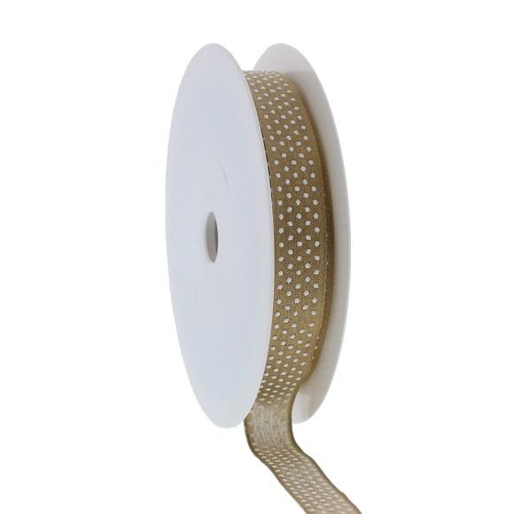 """""""Puff Dotty""""  cinta con alambre de hierro - oro - 15mm - 20m"""