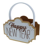 """Sparkle"" Happy New Year mand met oor - 220*85*240 mm - 4 stuks"
