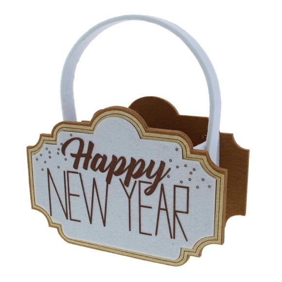 """""""Sparkle"""" Happy New Year Korb - 220*85*240 mm - 4 Stück"""