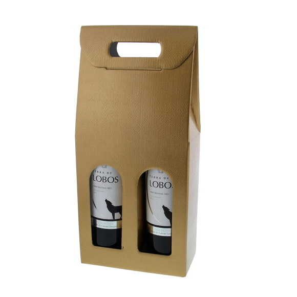 Box for  2 bottles - gold - 10 pieces