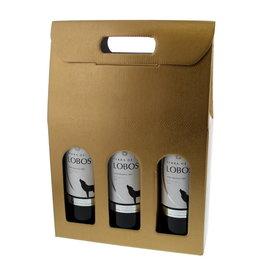 Caja para 3 botellas  - oro