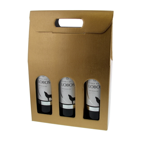 Box for  3 bottles - gold - 10 pieces