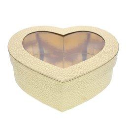 Caja de corazón con ventana transparente -  oro