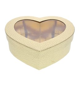 Heart box with clear window - gold