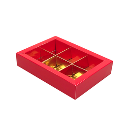 Red window box with interior for 6 chocolates