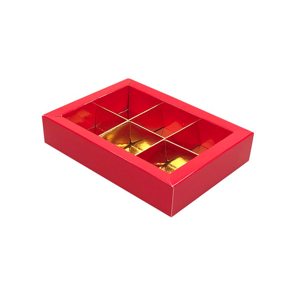 Rot Klarsichtschachtel für 6 Pralinen - 130*90*30mm - 35 Stück