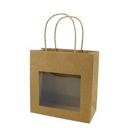 Kraft Papiertasche mit Fenster - 25 Stück