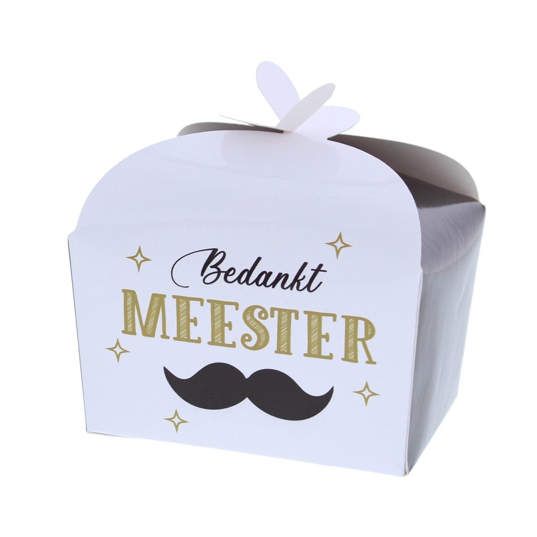 """Schachtel """"Bedankt Meester"""" 250 Gramm - 105*85*85mm - 48 Stück"""