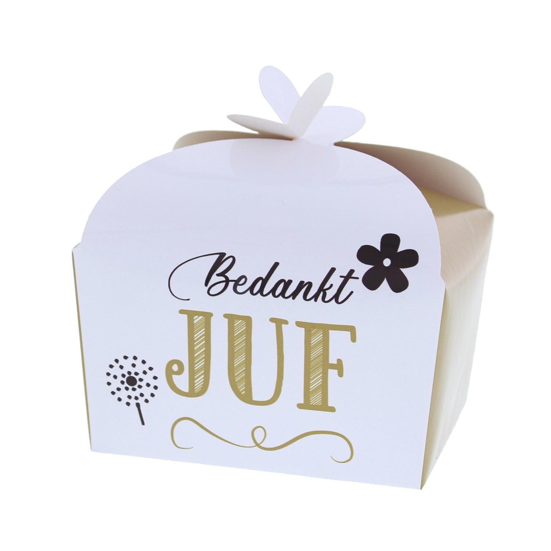 """Boîte papillon """"Bedankt Juf"""" 250 grammes - 105*85*85mm - 48 pièces"""