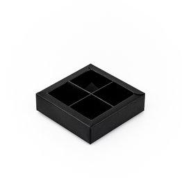 Black square window box with interior for 4 chocolates