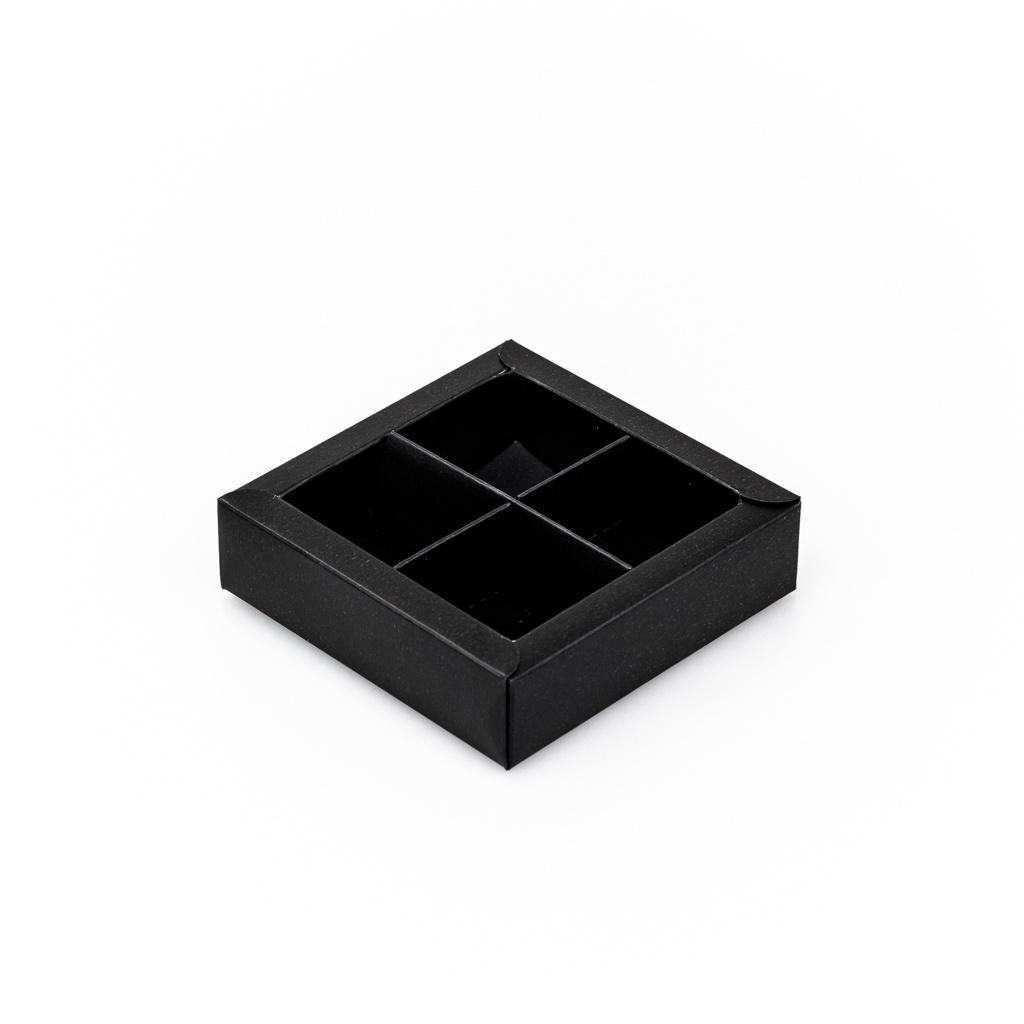 Schwarz Quadrat Klarsichtschachtel für 4 Pralinen - 75*75*25 mm - 30 Stück