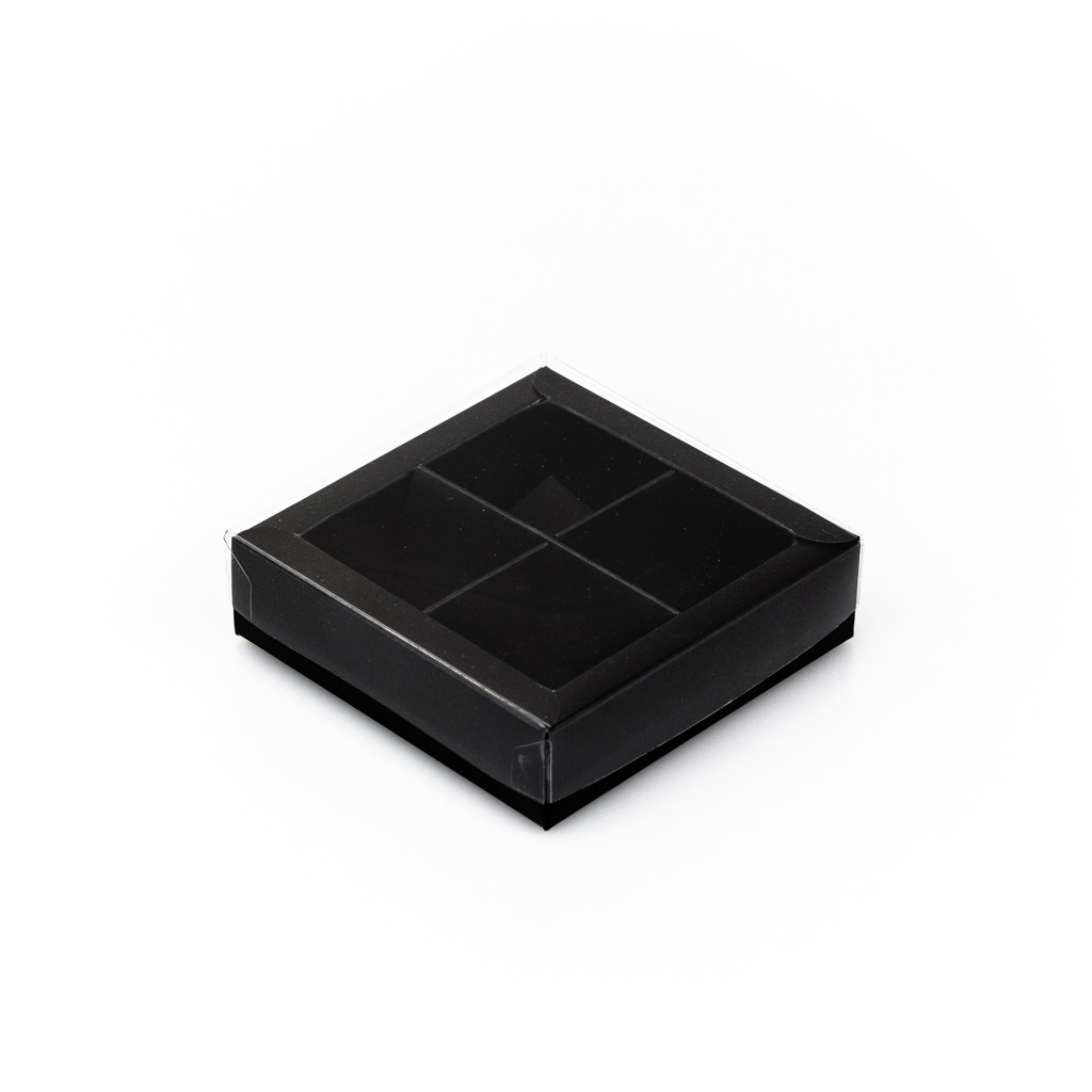 Black square window box with interior for 4 chocolates - 75*75*25 mm - 30 pieces