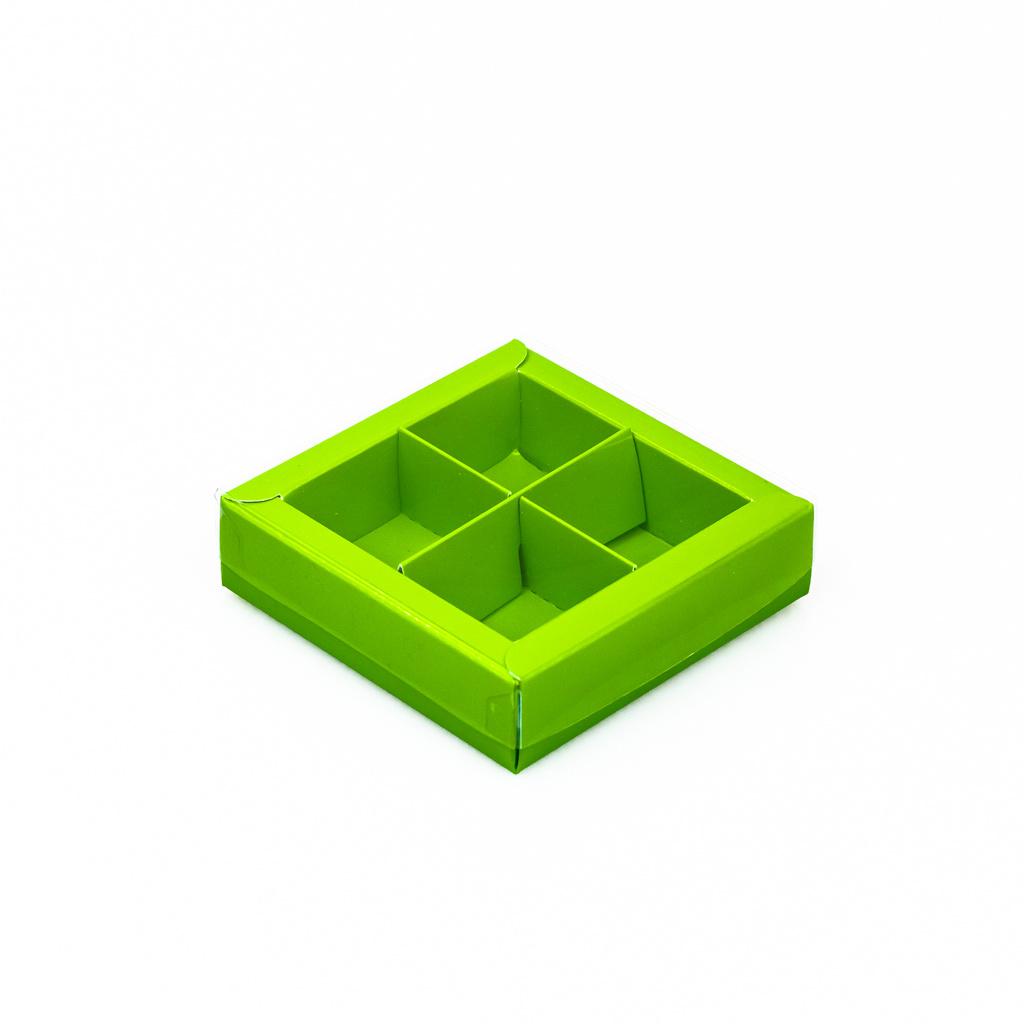 Grün Quadrat Klarsichtschachtel für 4 Pralinen - 75*75*25 mm - 30 Stück